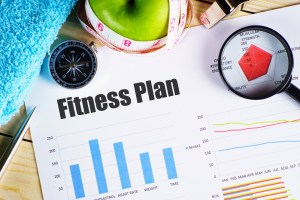 A fitness plan features charts and graphs.