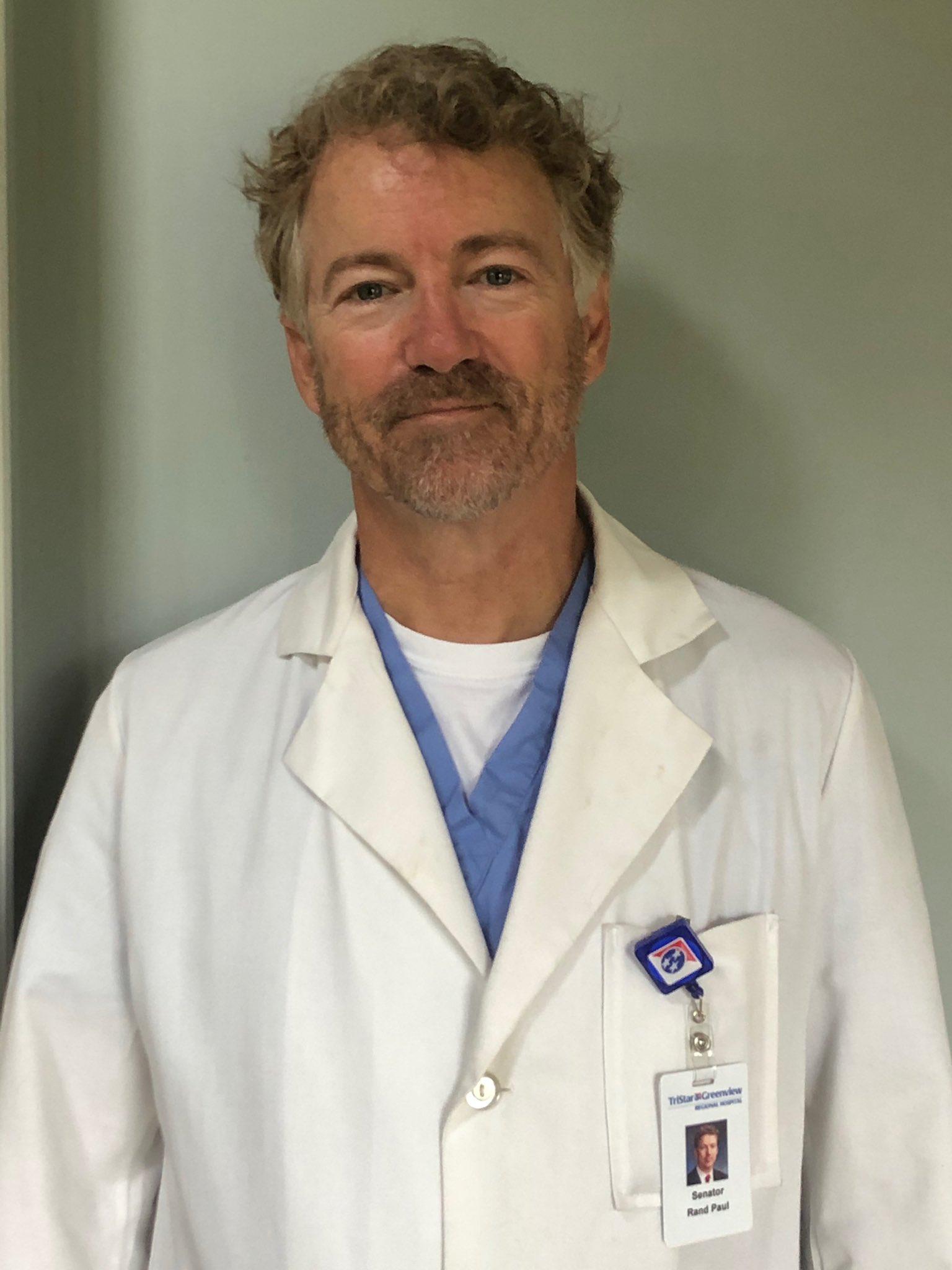 GOOD NEWS: Senator Rand Paul Beats Coronavirus Now Back Volunteering to Treat Patients