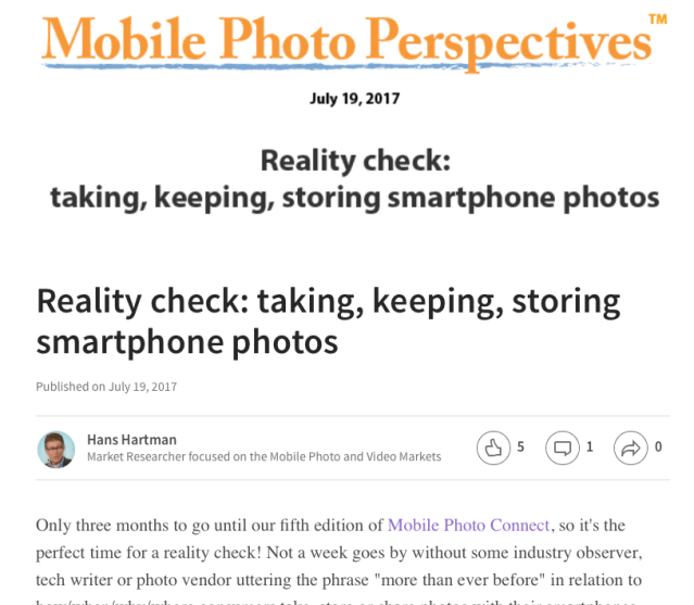 Mobile Photo Perspectives: Reality Check: Taking, Keeping, Storing Smartphone Photos
