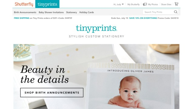 Tiny Prints Opens New Home on Shutterfly.com Offering Customers New Luxe Stationery Designs from Prominent Artists and Seamless Access to Shutterfly's Free Unlimited Photo Storage, Personalized Products