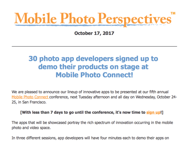 Mobile Photo Perspectives: 30 photo app developers signed up to  demo their products on stage at  Mobile Photo Connect!