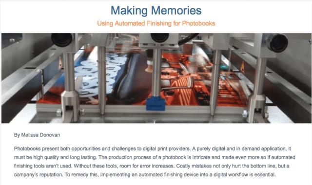 DPS Magazine article features automated photobook finishing