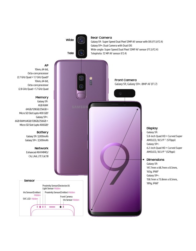 Samsung S9 and Samsung S9+ comparison