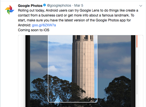 Google adds Lens to Google Photos for Android