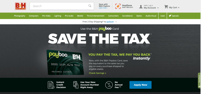 B&H launches Payboo credit card to offset sales tax costs