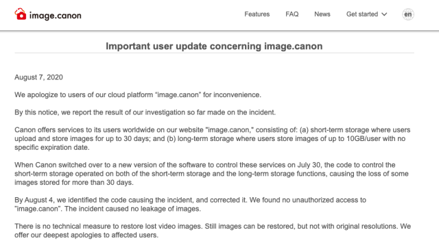 Canon loses consumer images on image.canon