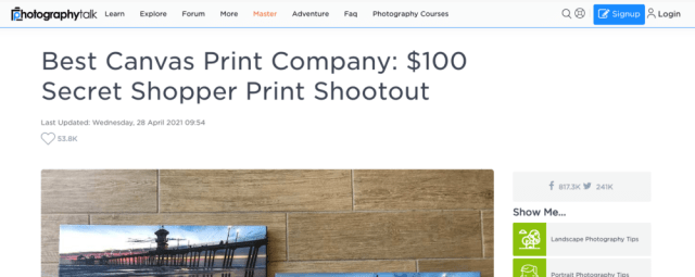 PhotographyTalk to conduct 2021 $100 canvas print shootout