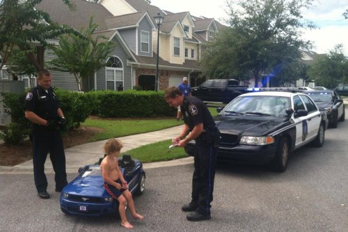 Kid pulled over by cops.