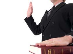 Taking an oath in court