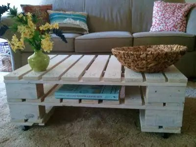 a coffee table made with pallets
