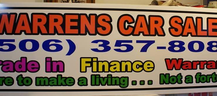 Warrens Car Sales Panel Sign