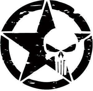 distressed punisher skull army star decal the decal junkie distressed punisher skull army star decal