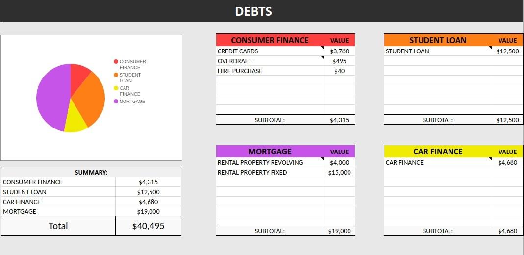 free net worth spreadsheet
