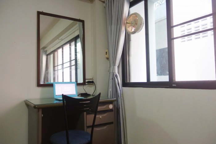 Desk in my insanely cheap Chiang Mai studio apartment.