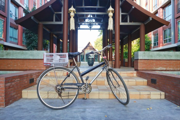 Road bike parked up outside Chiang Mai condo.