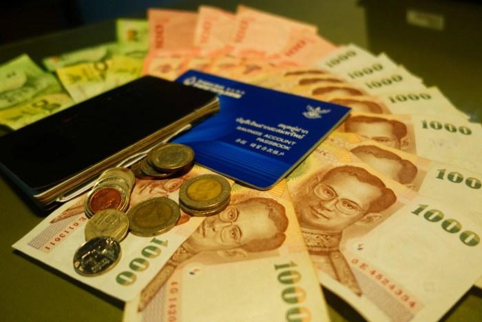 Bank book, Thai baht, passport