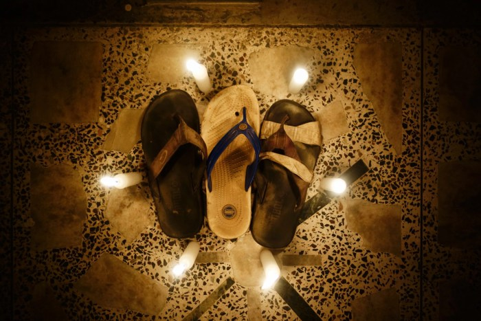 Candle ceremony for our three broken-ass jandals