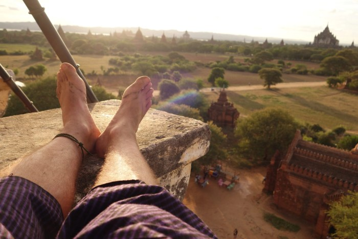 Putting my feet up in Myanmar after a long day of temple hopping