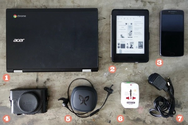 Minimalist travel packing list: Laptop, phone, Kindle, headphones, adapter, camera, cables