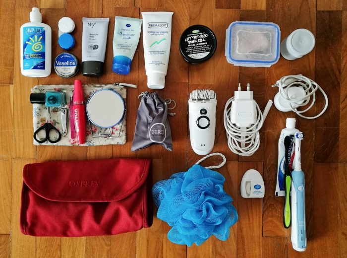Packing list for female travelers: Toiletries, first aid, and cosmetics