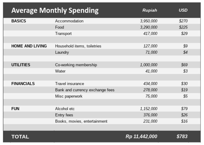 Bali on the cheap cost of living breakdown