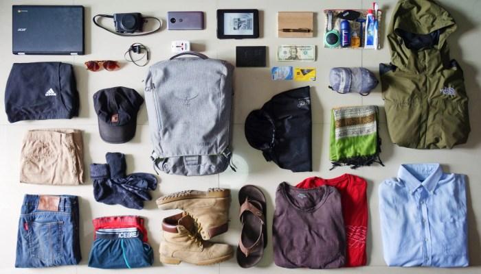 flat lay ultralight packing list