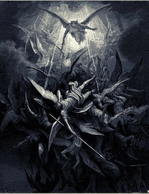 St Michael descending from heaven to kick some demonic ass