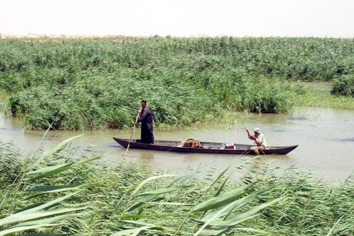 Iraq marshlan Arabs in a mashoof