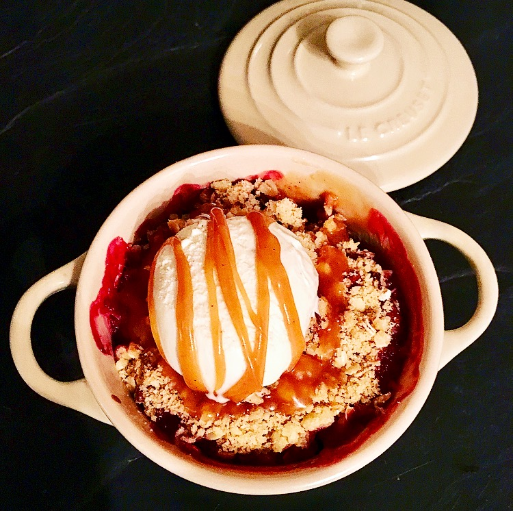 Blackberry, Pear and Toffee Apple Crumble