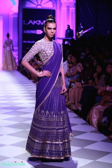 deep blue lehenga Anita Dongre Lakme Fashion Week 2014