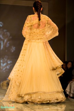 gold anarkali with multiple layers 3 back Tarun Tahiliani India Bridal Fashion Week 2014