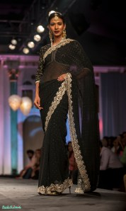 Midnight black mukesh work sari