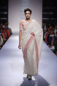 Marg by Soumitra white half and half sari with print blouse