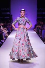 Payal Singhal print collar crop top and skirt