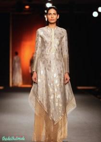 Hand Woven Silk Chanderi Lotus Jaal Asymmetric Drape with Gold Benarsi Sheer Palazzo Pants - Rahul Mishra - Amazon India Couture Week 2015