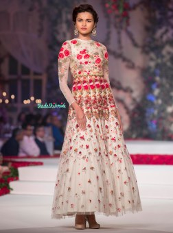Ivory Anarkali with Embroidered Floral Motifs - Varun Bahl - Amazon India Couture Week 2015