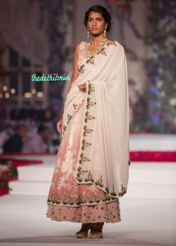 Ivory and baby pink lehenga sari with ivory pallu - Varun Bahl - Amazon India Couture Week 2015