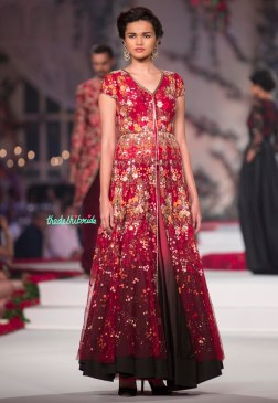 Red jacket lehenga with shaded black and red skirt and Embroidered Floral Motif jacket - Varun Bahl - Amazon India Couture Week 2015