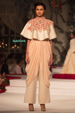 Peplum Floral Crop top with Ivory Palazzo Pants - Varun Bahl - Amazon India Couture Week 2015