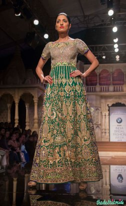 Abu Jani Sandeep Khosla - Heavily Embroidered Dual Toned Green and Blue Anarkali Gown Front - BMW India Bridal Fashion Week 2015