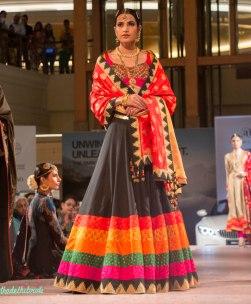Ashima Leena - Black Lehenga with multi coloured borders and Red Silk Dupatta - BMW India Bridal Fashion Week 2015