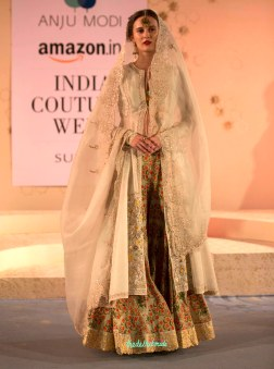 Floral print lehenga with an ivory embroidered jacket