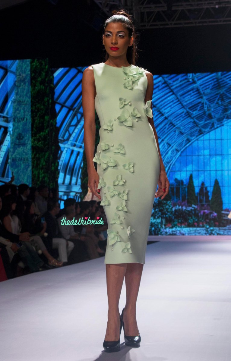 Gauri and Nainika - Pale Green Fitted Midi Dress with 3D Floral Applique Front 2 - BMW India Bridal Fashion Week 2015
