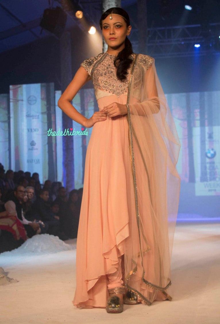 JJ Valaya - Peach Anarkali with Embroidered Yoke Front - BMW India Bridal Fashion Week 2015