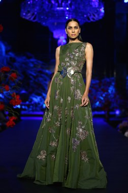 Olive Green Gown with Silver Mushroom Flower Motifs - Manish Malhotra - Amazon India Couture Week 2015