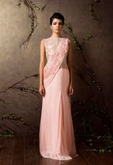 Blush pink pre-draped sari gown - Shyamal and Bhumika New Collection 2015 - A Little Romance - Autummn-Winter Collection 2015