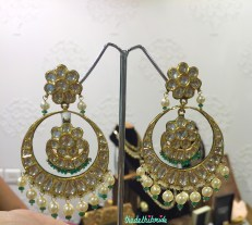 Chaand bali earrings in polki and pearls with touch of green - Neety Singh - store visit
