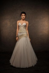 Grey mermaid lehenga in tulle with corset - Shyamal and Bhumika New Collection 2015 - A Little Romance