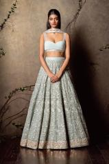 Heavily embroidered pale blue lehenga with floral embroidery and bikini blouse - Shyamal and Bhumika New Collection 2015 - A Little Romance - Autummn-Winter Collection 2015