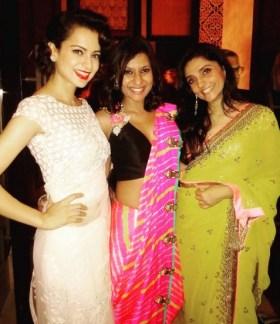 Wedding guest style - Reception - Kangana Ranaut with Miss Malini and Ami Patel - Masaba Gupta and Madhu Mantena Wedding 2015